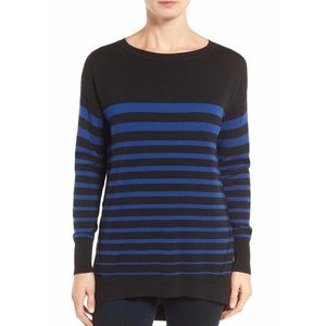 Caslon Black Blue Pull-over High Low Sweater L NWT
